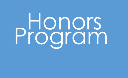 Baby blue background with white text that says Honors Program